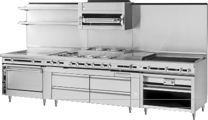 TITANTM HEAVY DUTY RANGES WITH INTEGRATED REFRIGERATED BASES BY JADE BRING  UNPARALLELED CONVENIENCE AND FLEXIBILITY TO THE COOKING LINE.